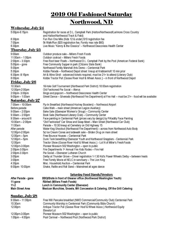 Northwood Old Fashioned Schedule 2019